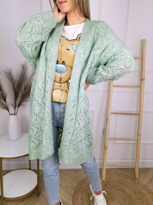 Sweter Kardigan Ażurek Zielony