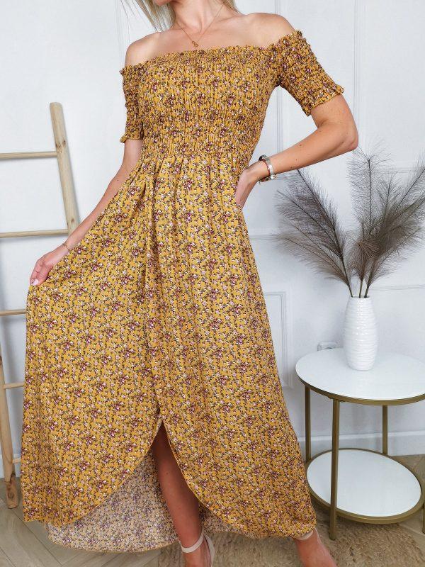 Sukienka Floral Asymetryczna Miodowa 2021 06 24 20 06 46