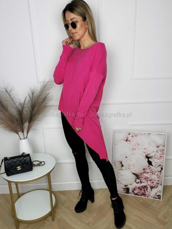 Sweter Cyprys Asymetryczny Fuksja
