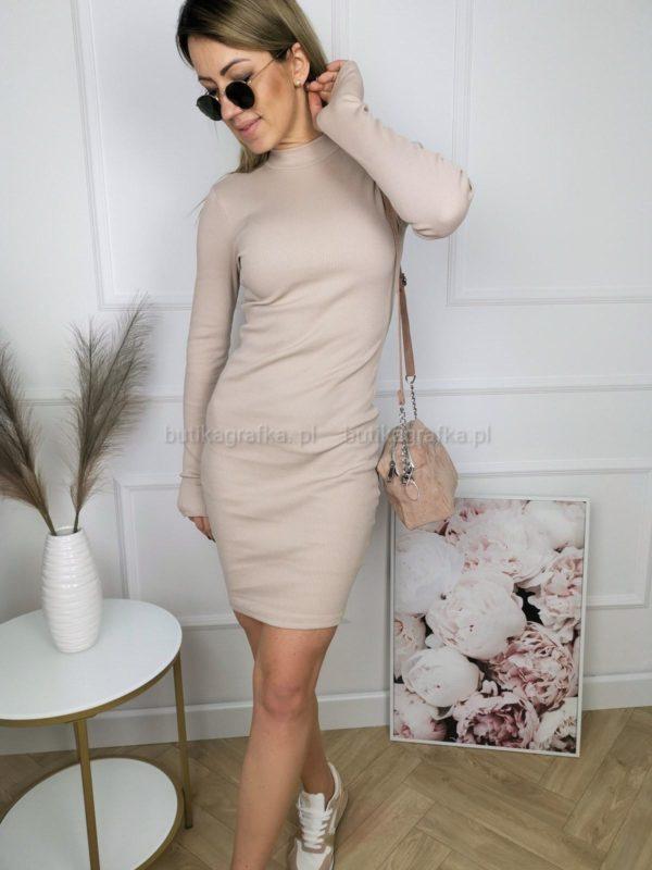 Sukienka Slim Prążek Beż