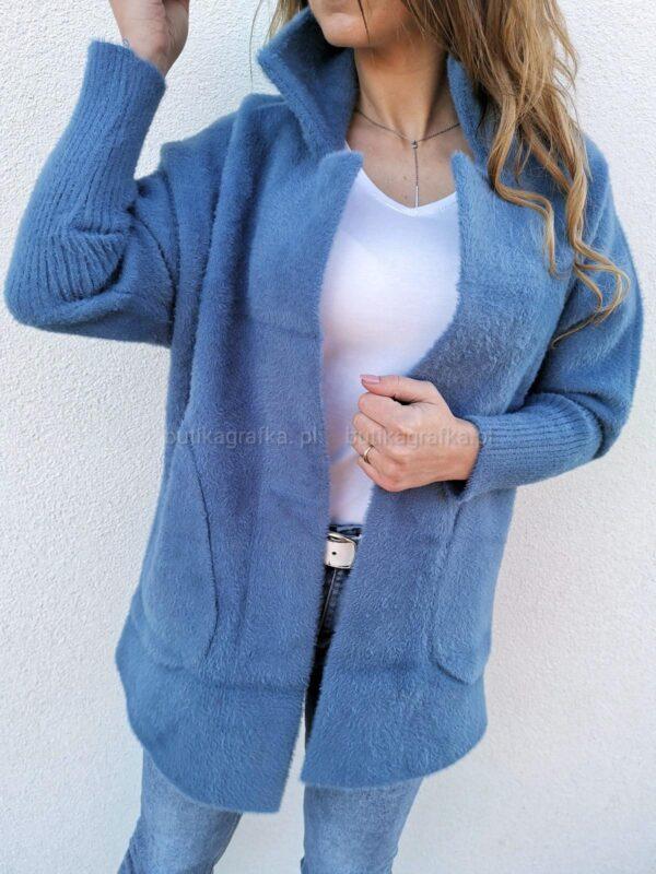 Płaszcz Alpaka Niebieski Jeansowy
