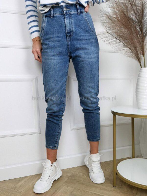 Spodnie Jeansy Mom Fit Denim Blue